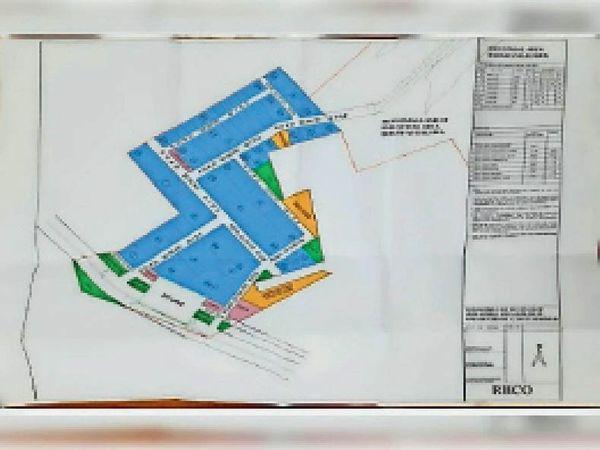 बोरावास इंडस्ट्रीयल एरिया का प्रस्तावित नक्शा। - Dainik Bhaskar