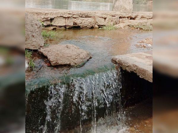 मोवा तालाब रीटेनिंग वॉल में कई जगह से इसी तरह दिनभर बहता है पानी। - Dainik Bhaskar
