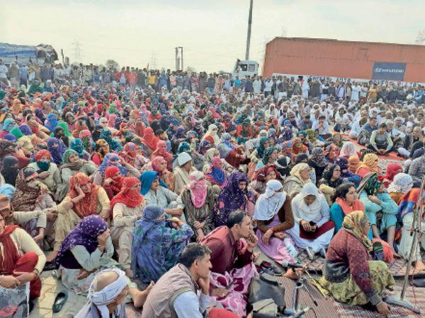 जींद. खटकड़ टोल प्लाजा पर हुई महापंचायत में उमड़ी लोगों की भीड़। फोटो | भास्कर - Dainik Bhaskar