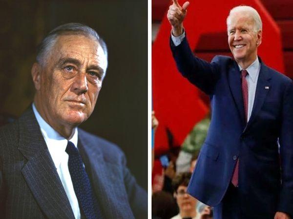 अमेरिकी राष्ट्रपति का पद संभालने से पहले बाइडेन ने रूजवेल्ट (बाएं) से जुड़ी कई किताबें पढ़ी थी। - Dainik Bhaskar