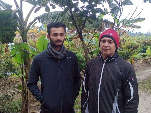 उत्तर प्रदेश के रहने वाले श्याम सिंह पिछले पांच साल से खेती कर रहे हैं। इस काम में अभय भी अपने पिता की मदद करते हैं। - Dainik Bhaskar
