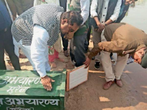 चंबल नदी के किनारे शावक घड़ियाल को डिस्चार्ज करते वनमंत्री विजय शाह। - Dainik Bhaskar