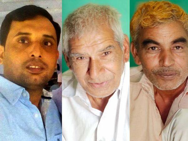 गैंगस्टर प्रदीप स्वामी, रिटायर्ट टीचर निहाल और ग्रामीण ईश्वर सिंह। (बांए से दांए) - Dainik Bhaskar