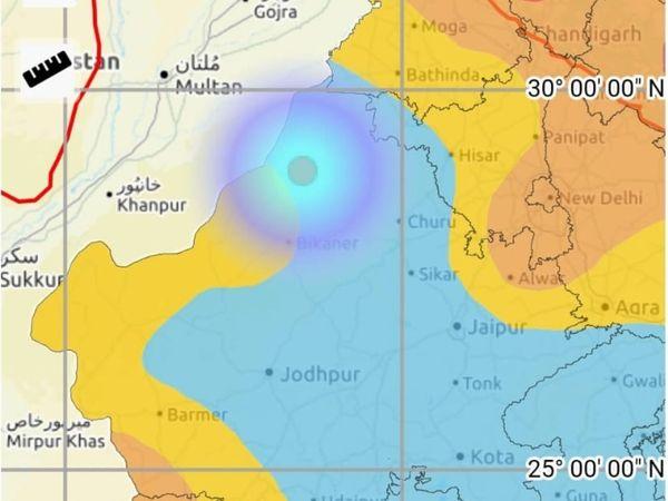 मौसम विभाग की ओर से शनिवार देर रात जारी किया गया ग्राफ, जिसमें भूकंप का स्थान नजर आ रहा है। - Dainik Bhaskar