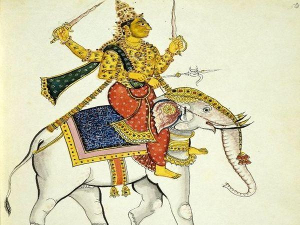 तंजावुर शैली के चित्र में इंद्र। - Dainik Bhaskar