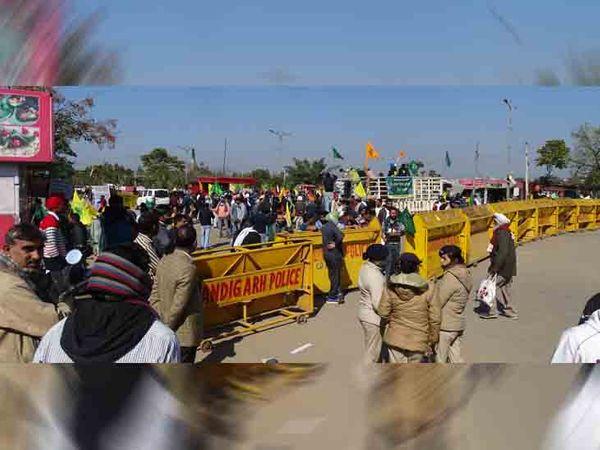 चंडीगढ़ में आज किसान आंदोलन के समर्थन में लोगों ने मुख्य सड़कों पर चक्का जाम  रखा। मुल्लांपुर बैरियर को पूरी तरह से जाम रखा। फोटो लखवंत सिंंह - Dainik Bhaskar
