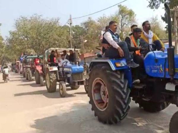 पाटन में कांग्रेस की ओर से एक किमी लंबी ट्रैक्टर रैली निकाली गई।