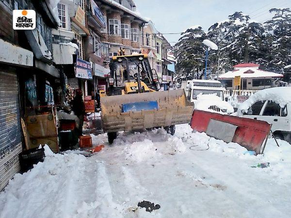 सड़कों पर इतनी ज्यादा बर्फ गिर गई कि जेसीबी से लंबे समय तक बर्फ हटानी पड़ी।