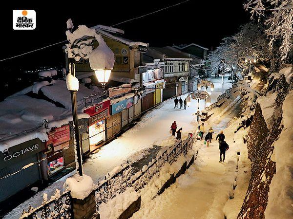बर्फबारी का आलम यहा है कि स्ट्रीट लाइट के खंभे पर भी बर्फ जम गई है।