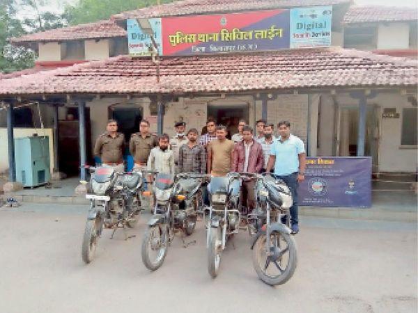 पुलिस ने चोर और खरीदारों से जब्त की गाड़ियां। - Dainik Bhaskar