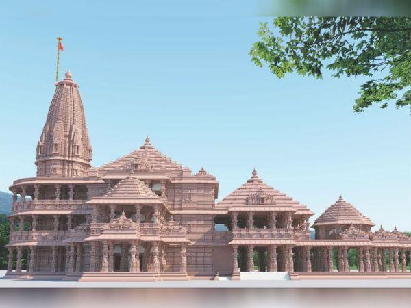 अयोध्या में बनने वाले श्रीराम मंदिर का प्रस्तावित मॉडल। मंदिर के लिए कुल 40 फीट गहरी नींव की खुदाई की जानी है। निर्माण के लिए पत्थर तराशने का काम भी जारी है। - Dainik Bhaskar