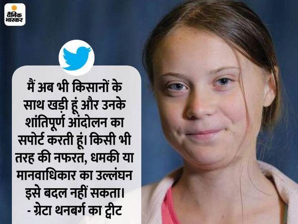 ग्रेटा थनबर्ग ने 3 फरवरी की देर रात सोशल मीडिया पर टूलकिट नाम का एक डॉक्यूमेंट शेयर किया। इसी पर दिल्ली पुलिस ने केस दर्ज किया था। इसके अगले दिन ग्रेटा ने फिर ट्वीट कर कहा कि मैं अब भी किसानों के साथ खड़ी हूं।