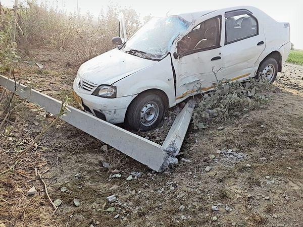 क्षतिग्रस्त कार - Dainik Bhaskar