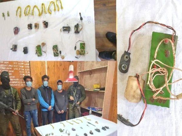 त्राल में सुरक्षाबलों ने आतंकियों के तीन मददगारों को अरेस्ट किया है। इनके पास से 8 डेटोनेटर और बड़ी मात्रा में IED बनाने का सामान मिला है। - Dainik Bhaskar