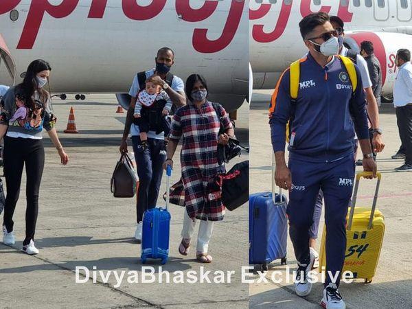 पत्नी नताशा और बेटे के साथ हार्दिक पंड्या और शार्दुल ठाकुर। - Dainik Bhaskar