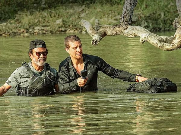 रजनीकांत के साथ बेयर ग्रिल्स।