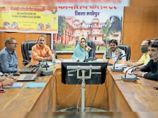 बैठक में मौजूद जिला पंचायत अध्यक्ष व अन्य। - Dainik Bhaskar