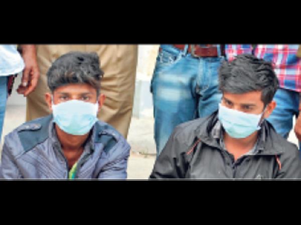 एमआईए पुलिस की गिरफ्त में हत्या आराेपी भाई। - Dainik Bhaskar