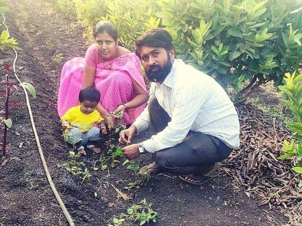 सचिन अपनी पत्नी के साथ मिलकर ढाई एकड़ जमीन पर गन्ने के साथ फल और सब्जियों की खेती कर रहे हैं।