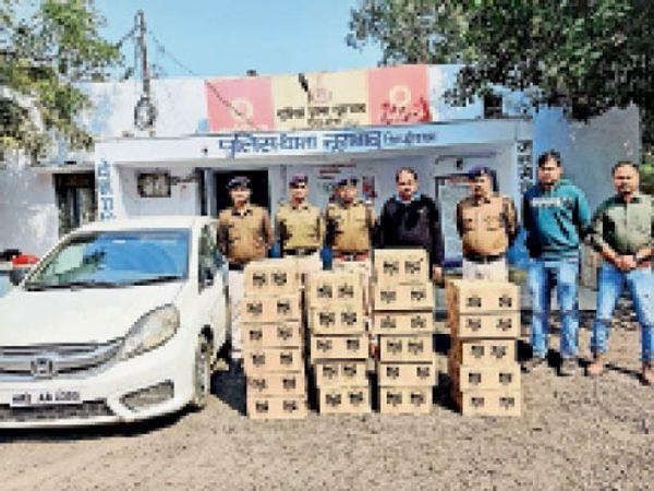 नूराबाद थाने में रखी जप्त शराब। - Dainik Bhaskar