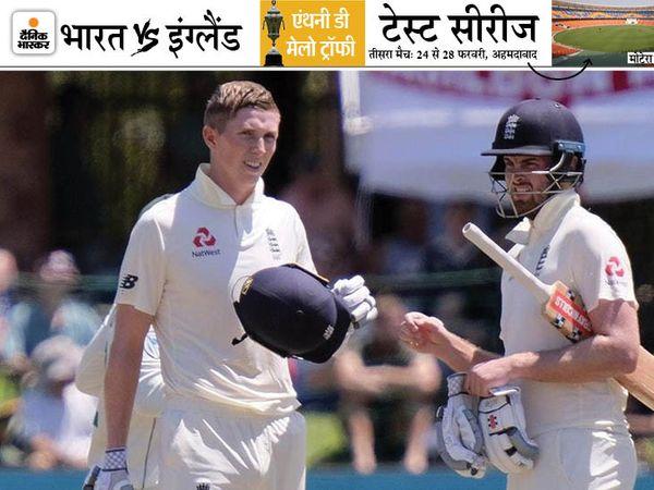 क्राउली (बाएं) ने इंग्लैंड की ओर से अब तक 10 टेस्ट खेले हैं। इसमें उन्होंने 38.5 की औसत से 616 रन बनाए हैं। उनका हाईएस्ट स्कोर 267 रन का रहा, जो उन्होंने अगस्त, 2020 में पाकिस्तान के खिलाफ बनाया था। (फाइल फोटो) - Dainik Bhaskar