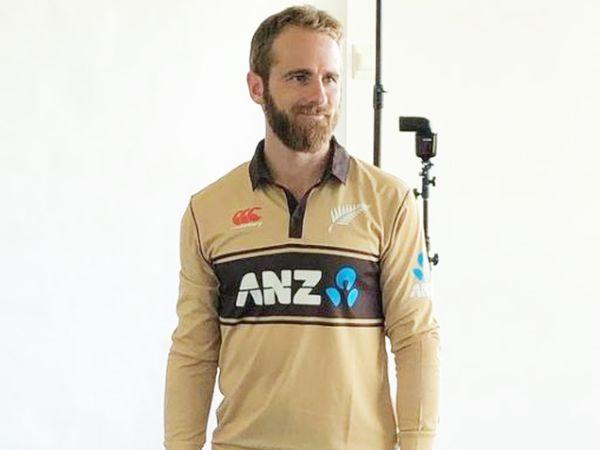 ऑस्ट्रेलिया के खिलाफ टी-20 सीरीज से पहले नई जर्सी में न्यूजीलैंड के कप्तान केन विलियम्सन। - Dainik Bhaskar