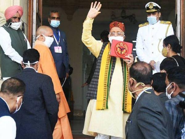 उत्तर प्रदेश सरकार के वित्त मंत्री सुरेश खन्ना ने विधानसभा में अपनी सरकार का 5वां पूर्ण बजट 2021-22 पेश किया। इस सत्र का कुल बजट 5 लाख 50 हजार 270 करोड़ का है। - Dainik Bhaskar
