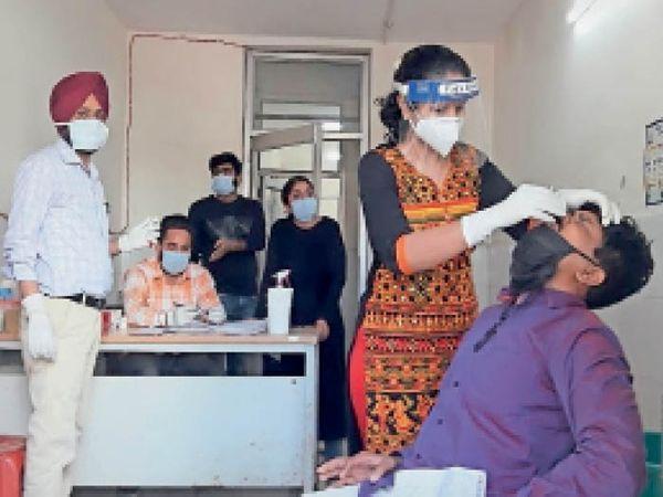 सैंपल लेती डॉ. प्रियंका सिंगला। - Dainik Bhaskar