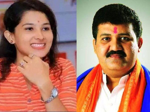 टिकटॉक स्टार पूजा चौहान (बाएं) और इस्तीफा देने वाले महाराष्ट्र सरकार के मंत्री संजय राठौड़ (दाएं)। - Dainik Bhaskar