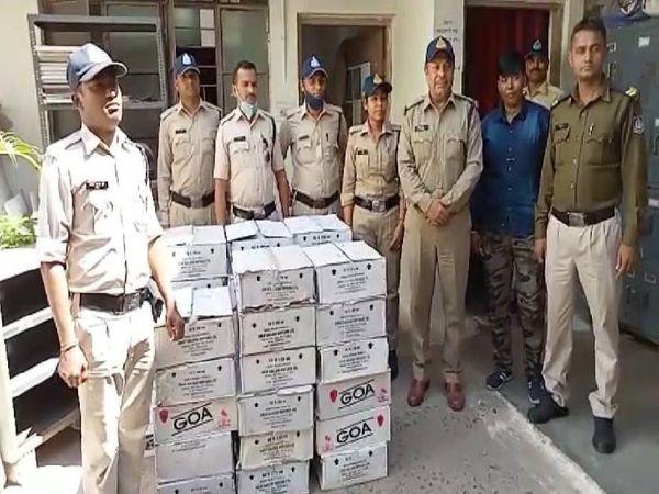 घमापुर पुलिस ने दो लाख रुपए कीमती रम और व्हिस्की जब्त किए। - Dainik Bhaskar