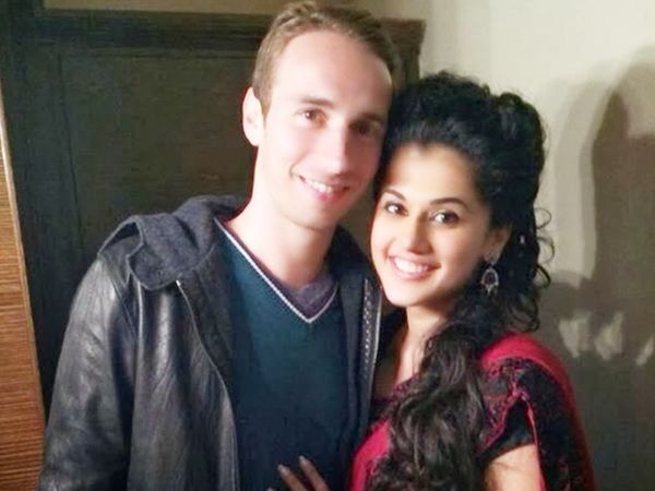 Taapsee Pannu with Matthias Boe.  (File photo) India's doubles badminton team coach and Olympic silver medalist Matthias appealed to Sports Minister Kiran Rijiju to help girlfriend Taapsee.  - Dainik Bhaskar