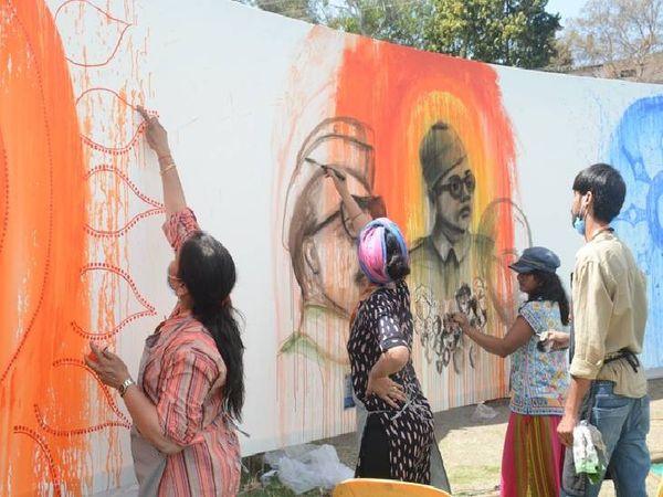 Netaji's life and struggle landing on the canvas.