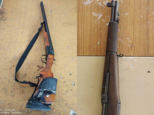 Semi-automatic rifle, a 12-bore double-barreled gun, was found in Bhind, in the Bikeru scandal, two arrested | UP के बिकरू में सेमी ऑटोमेटिक राइफल और 12 बोर डबल बैरल बंदूक से की थी पुलिसकर्मियों की हत्या, दो गिरफ्तार