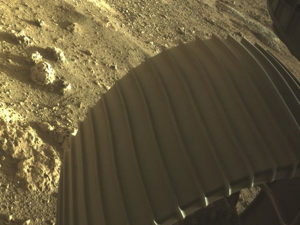 This photo was made shortly before the rover landed on Mars.  It was released by NASA.