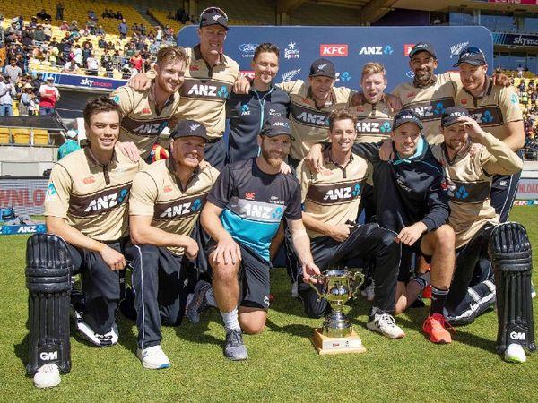 न्यूजीलैंड टीम ने 5 टी-20 की सीरीज में ऑस्ट्रेलिया को 3-2 से शिकस्त दी। रविवार को वेलिंगटन में खेले गए आखिरी मैच में ऑस्ट्रेलिया को 7 विकेट से शिकस्त दी। - Dainik Bhaskar