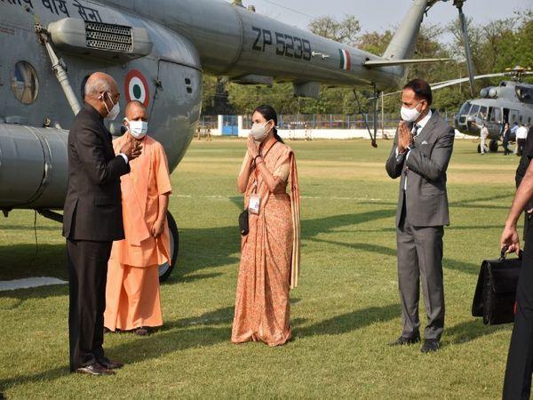 BLW खेल मैदान में राष्ट्रपति का स्वागत महाप्रबंधक अंजलि गोयल ने किया।