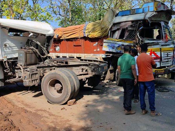 दुर्घटनाग्रस्त वाहनों के सड़क के बीच आ जाने से करीब 5 घंटे तक रोड पर जाम लगा रहा। - Dainik Bhaskar