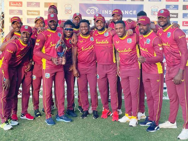 एंटीगुआमें खेले गए तीसरे और आखिरी वनडे में वेस्टइंडीज ने श्रीलंका को 5 विकेट से हरा दिया और सीरीज 3-0 से अपने नाम की। - Dainik Bhaskar