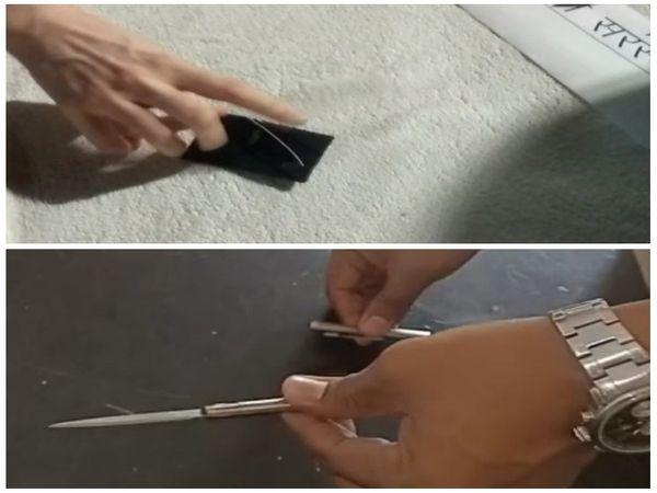 तस्वीर दिख रही चाकू रायपुर की पुलिस को मिले हैं।  अब वे थाने में जमा कर चुके हैं।