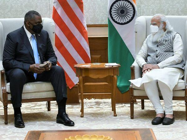 अमेरिका के रक्षा मंत्री लॉयड ऑस्टिन शुक्रवार शाम भारत पहुंचे। उन्होंने प्रधानमंत्री नरेंद्र मोदी से मुलाकात कर अहम मुद्दों पर चर्चा की। - Dainik Bhaskar