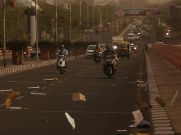 जयपुर में दिन में धूल भरी आंधी चली, जिससे दिन में अंधेरा छा गया।