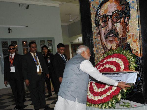 प्रधानमंत्री नरेंद्र मोदी 25 मार्च से बांग्लादेश के दौरे पर जाने वाले हैं। इस दौरान वे शेख मुजीबुर्रहमान के जन्म शताब्दी समारोह में हिस्सा लेंगे।इस दौरे से पहले शेख मुजीबुर्रहमान को गांधी पीस अवॉर्ड के लिए चुना गया है।- फाइल फोटो - Dainik Bhaskar