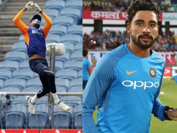 पुणे के महाराष्ट्र क्रिकेट एसोसिएशन स्टेडियम में प्रैक्टिस के दौरान भारतीय तेज गेंदबाज मोहम्मद सिराज ने हवा में करीब 2 फीट छलांग लगाकर शानदार कैच लपका। - Dainik Bhaskar