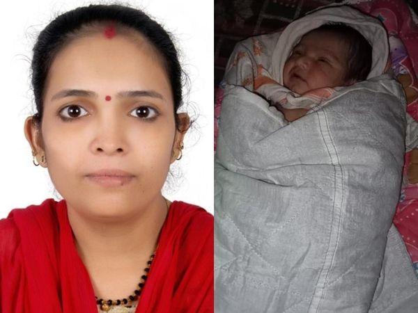 पूनमबेन (बाएं) ने 18 मार्च को बेटी (दाएं) को जन्म दिया था। इससे पहले हुई जांच में उनकी कोरोना रिपोर्ट नेगेटिव थी। बच्ची के जन्म के बाद की गई जांच में वे पॉजिटिव पाई गईं। - Dainik Bhaskar