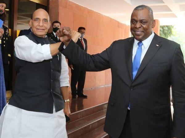 रक्षा मंत्री राजनाथ सिंह ने विज्ञान भवन में अमेरिकी रक्षा मंत्री लॉयड ऑस्टिन का स्वागत किया था। वे 3 दिन के भारत दौरे पर थे।