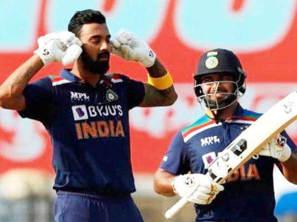 इंग्लैंड के खिलाफ दूसरे वनडे में राहुल ने 108 रन की पारी खेली। वहीं, पंत (दाएं) 40 गेंदों पर 77 रन बनाकर आउट हुए।
