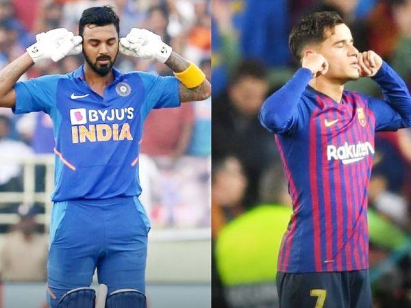 2019 में वेस्टइंडीज के खिलाफ शतक लगाने के बाद भी राहुल ने कान पर हाथ रखकर सेलिब्रेट किया था। वहीं,स्पेनिश क्लब बार्सिलोना के लिए खेलने वाले ब्राजील के फिलिप कोटिन्हो गोल दागने के बाद इसी तरह सेलिब्रेट करते हैं।