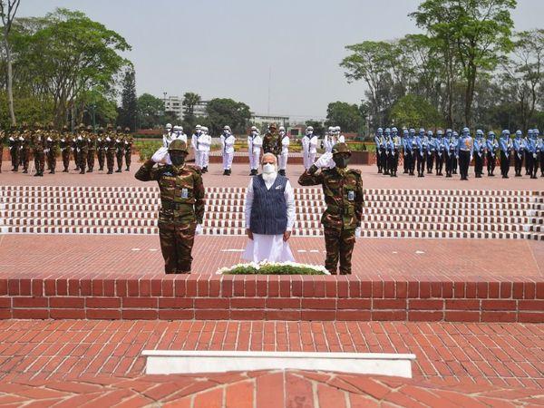 प्रधानमंत्री नरेंद्र मोदी ने बांग्लादेश के शहीदों को शहीद स्मारक पहुंचकर श्रद्धांजलि दी। इस दौरान उन्होंने शहीदों के संघर्ष और बलिदान को प्रेरणादायक बताया।