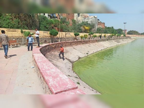 कैथल, बिदक्यार झील  से कचरा निकालते कर्मचारी । - Dainik Bhaskar