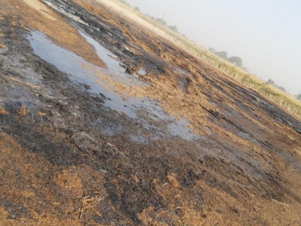 खलिहान में रखी सरसों की फसल नष्ट होने के बाद आई फायर बिग्रेड ने घटना स्थल पर पानी डाला। - Dainik Bhaskar
